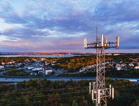 Aerial drone view of a cellular tower.