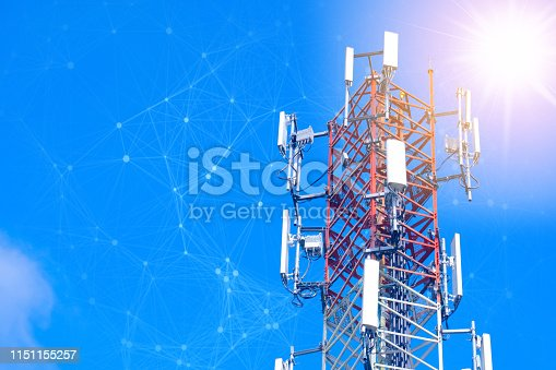 Cellular tower station for wireless telecommunication technology and blending with particles, glittering particles. Connection and mesh dots