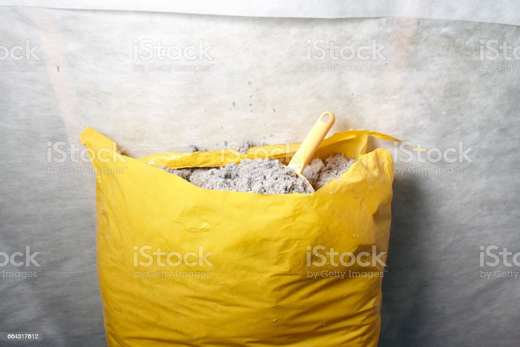 cellulose insulation made from recycled paper stock photo