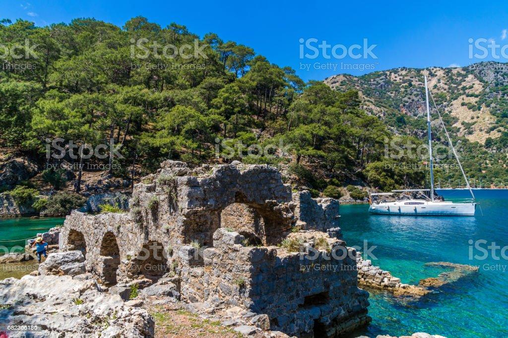Celopatra bath from Göcek Bay. Fethiye / Turkey. royaltyfri bildbanksbilder
