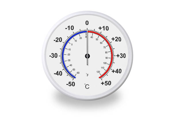 Celsius and fahrenheit scales thermometer with shadow on white background. Ambient temperature zero degrees celsius stock photo