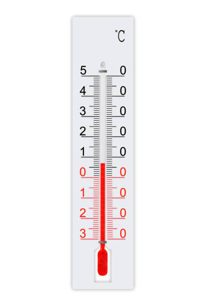 Celsius scale meteorology thermometer for measuring weather heat and cold. Thermometer isolated on white background. Air temperature plus 7 degrees stock photo