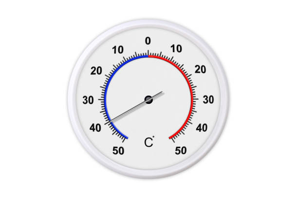 Celsius scale thermometer for measuring weather temperature.  Thermometer isolated on white background. Ambient temperature minus 40 degrees stock photo