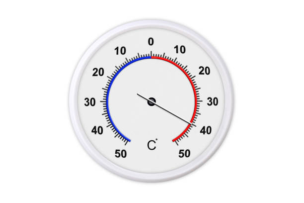 Celsius scale thermometer for measuring weather temperature.  Thermometer isolated on white background. Ambient temperature plus 40 degrees stock photo