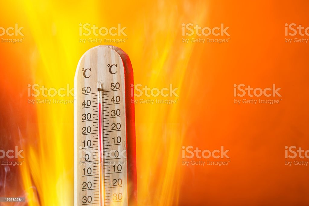 Celsius thermomether with fire flames stock photo