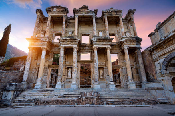 Celsus Library at Ephesus ancient city in Izmir, Turkey. Celsus Library at Ephesus ancient city in Izmir, Turkey. celsus library stock pictures, royalty-free photos & images