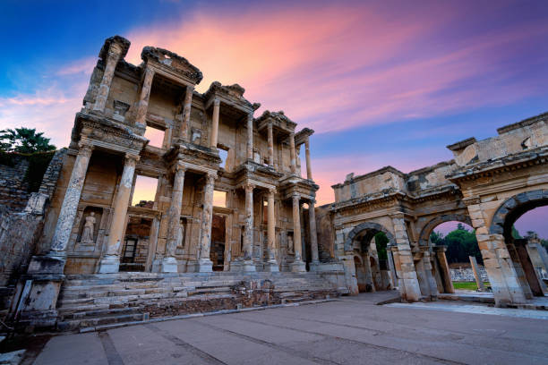 Celsus Library at Ephesus ancient city in Izmir, Turkey. stock photo