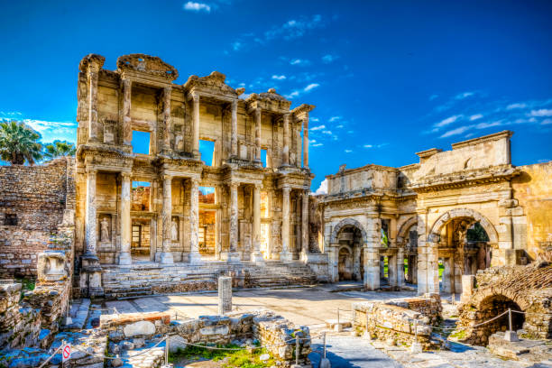 Celsus Library ( Celcius Library) in Ephesus Ancient City stock photo