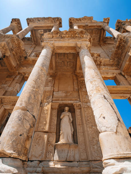 Celsus library in Ephesus, Turkey Old Ruin, Summer, Ephesus, Celsus Library, Turkey - Middle East celsus library stock pictures, royalty-free photos & images