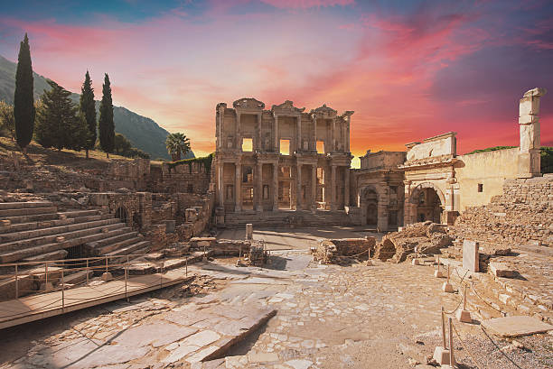 Celsus Library in Ephesus, Turkey Celsus Library in Ephesus, Turkey celsus library stock pictures, royalty-free photos & images