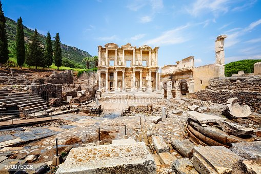 Ruins of Celsus library in Ephesus, Turkey. Famous place and travel destination
