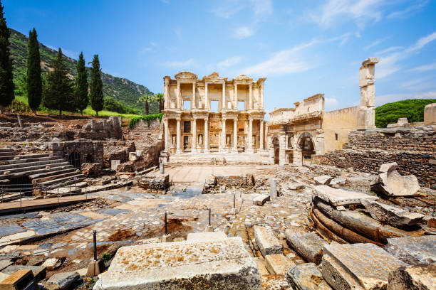 Celsus library in Ephesus, Turkey Ruins of Celsus library in Ephesus, Turkey. Famous place and travel destination celsus library stock pictures, royalty-free photos & images