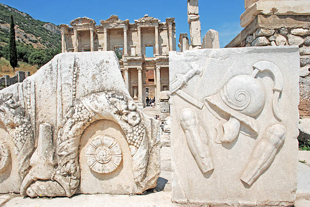 Celsus Library The Library of Celus, Ephesus, Turkey celsus library stock pictures, royalty-free photos & images