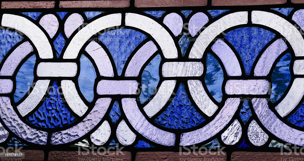 Celtic border in stained glass stock photo