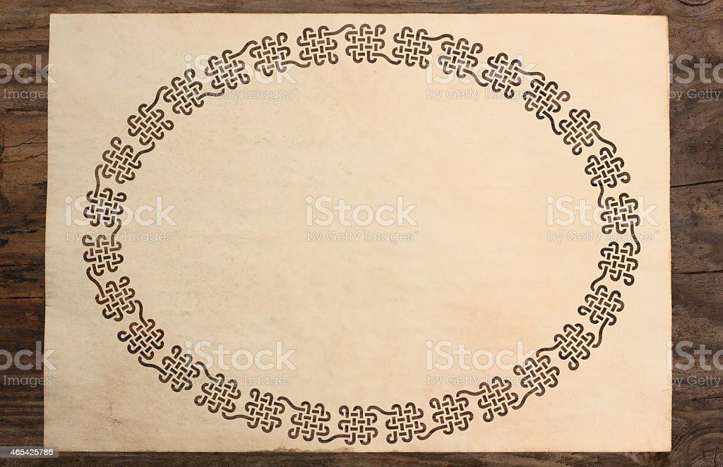 celtic border parchment paper cut knotwork background stock photo