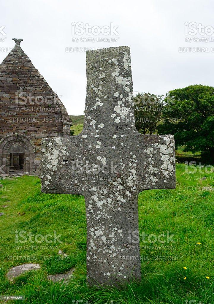 Celtic column, Kilkalmedar, Ireland stock photo