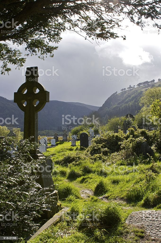 Celtic cross at Glendalough, Co. Wicklow, Ireland (Upright) stock photo