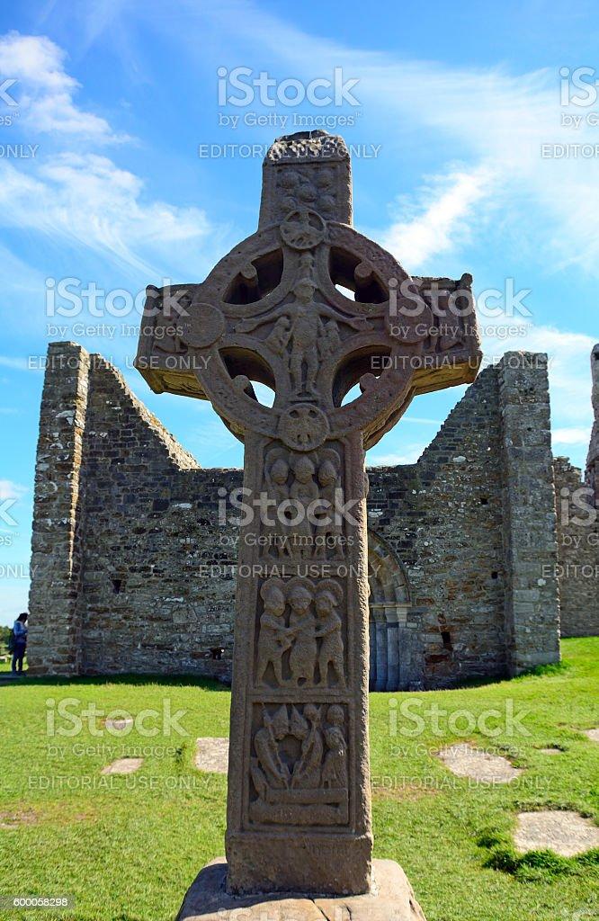 Celtic cross, Clonmacnoise, Ireland stock photo