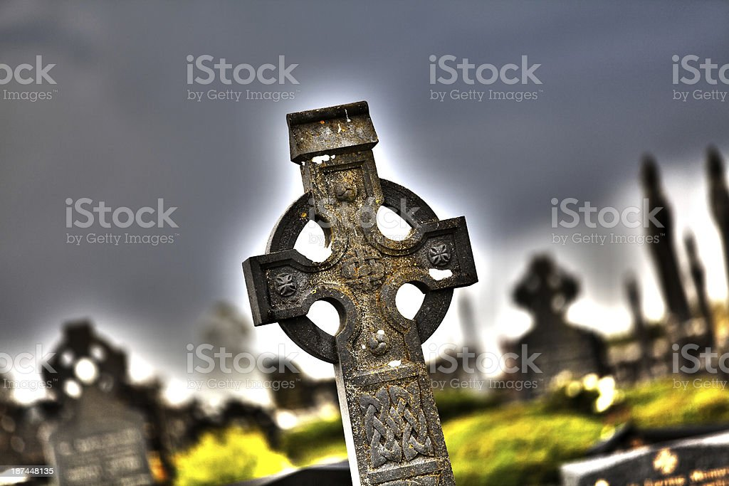 celtic cross  in a cemetery royalty-free stock photo