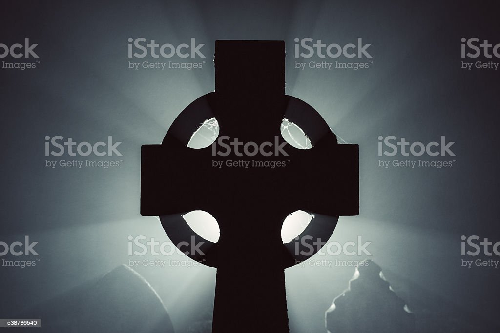 Celtic Cross in Fog stock photo