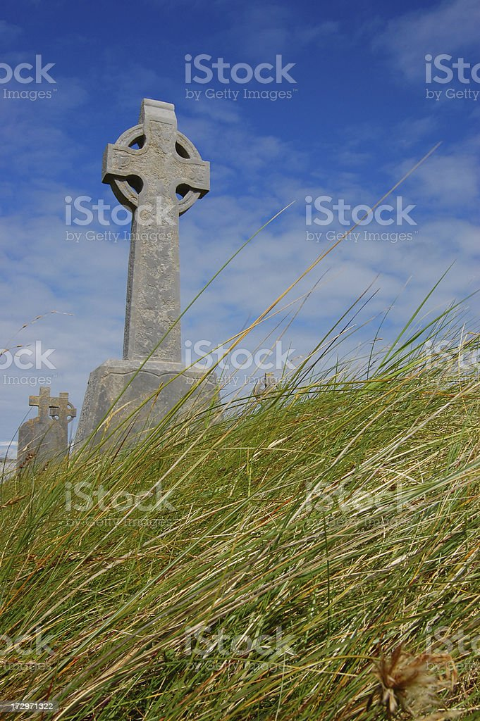 Celtic Cross in Tall Grass royalty-free stock photo