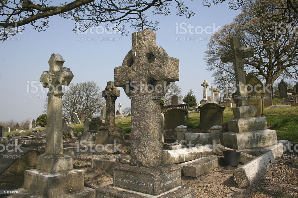 Celtic  Crosses in an Old Cemetary stock photo