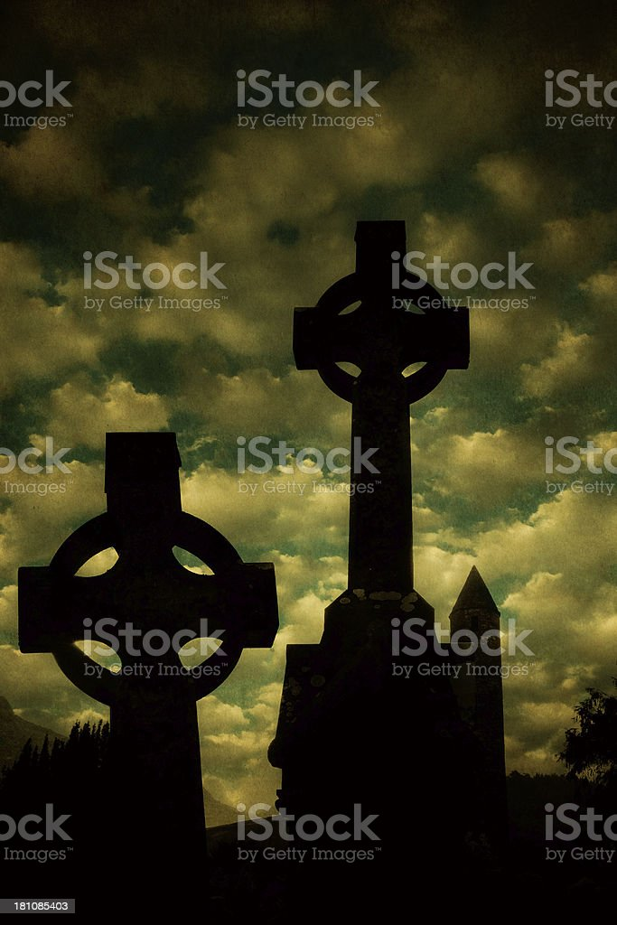 celtic crosses in Ireland - scratched vintage photo royalty-free stock photo