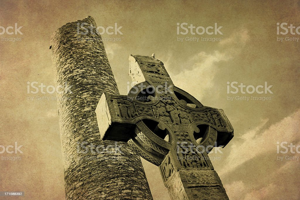 celtic high cross and round tower on an antique photo royalty-free stock photo