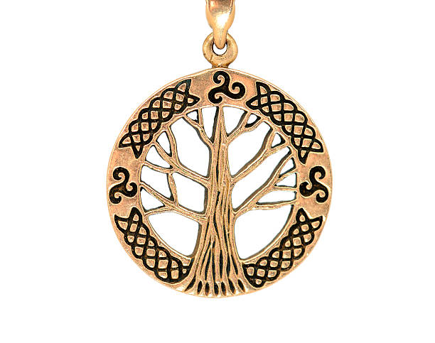 Celtic jewelry pendant in bronze with string on white background stock photo