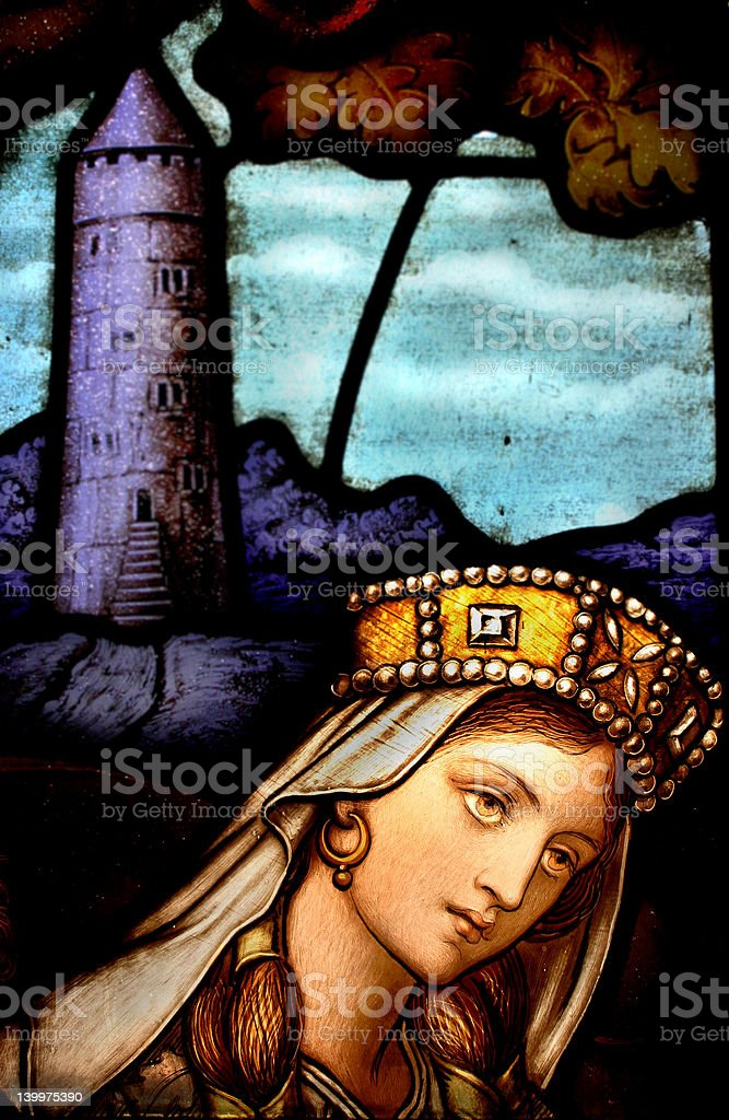 Celtic Queen Stained Glass Window royalty-free stock photo