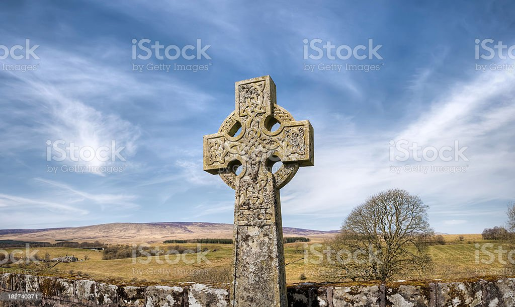 Celtic religious cross in remote and rural Scottish countryside royalty-free stock photo