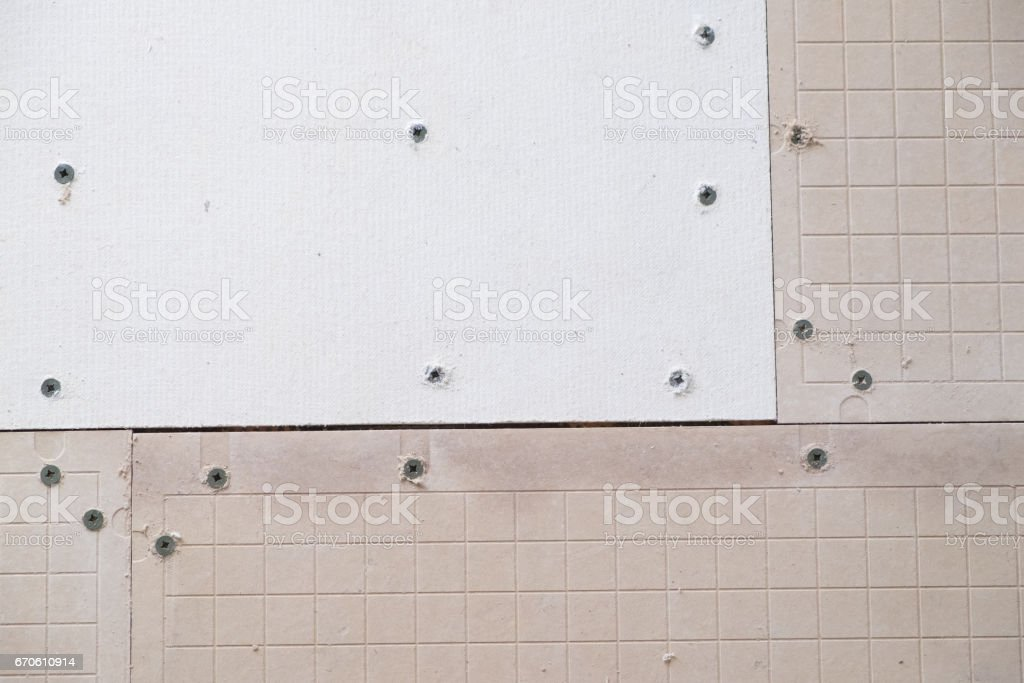 Cement Backer Board for Tile Project stock photo
