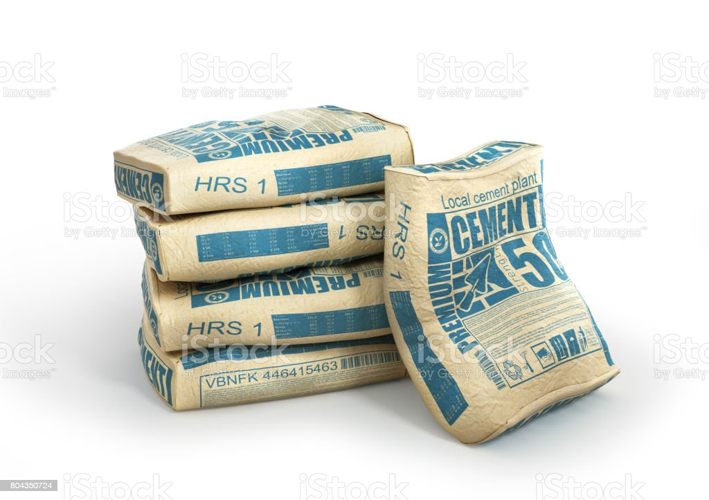 Cement bags stack. Paper sacks isolated on white background. 3d illustration royalty-free stock photo