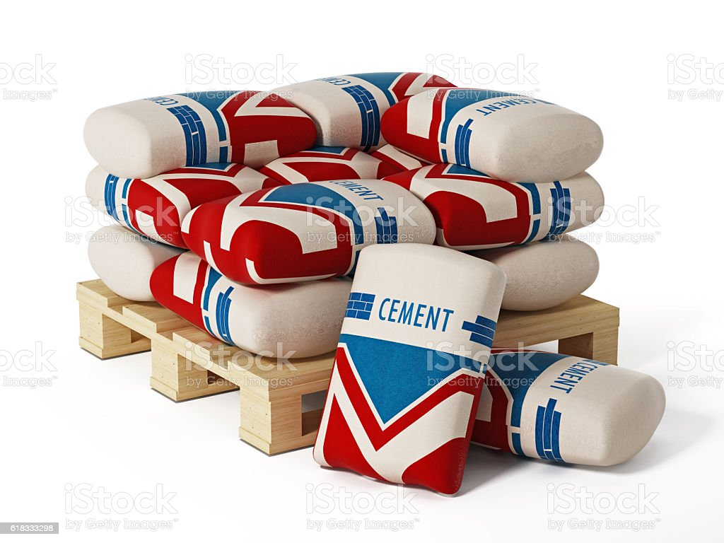 Cement bags stack stock photo