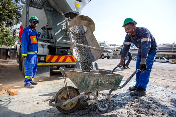 Cement being poured. stock photo