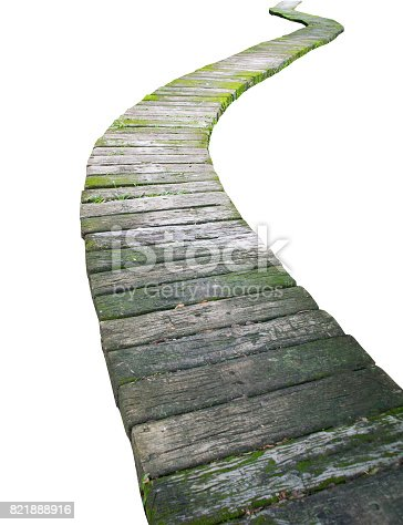 Cement block walkway isolate on white background