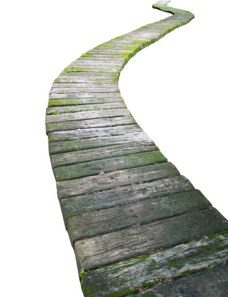 cement block walkway isolate on white background - walkway and bridge stock photos and pictures