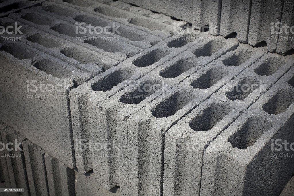 Cement blocks prepared for construction stock photo