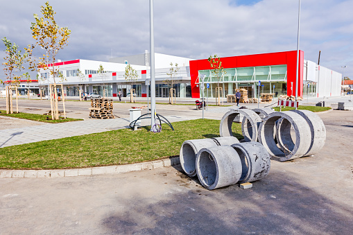 Zrenjanin, Vojvodina, Serbia - October 9, 2015: Building activities during construction of the large complex shopping mall