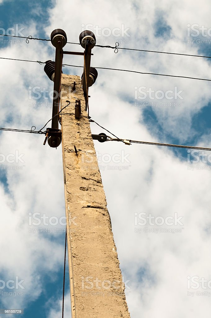 Cement electricity pole Cuba royalty-free stock photo