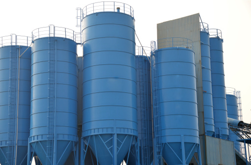 Cement factory machinery  with great containers.
