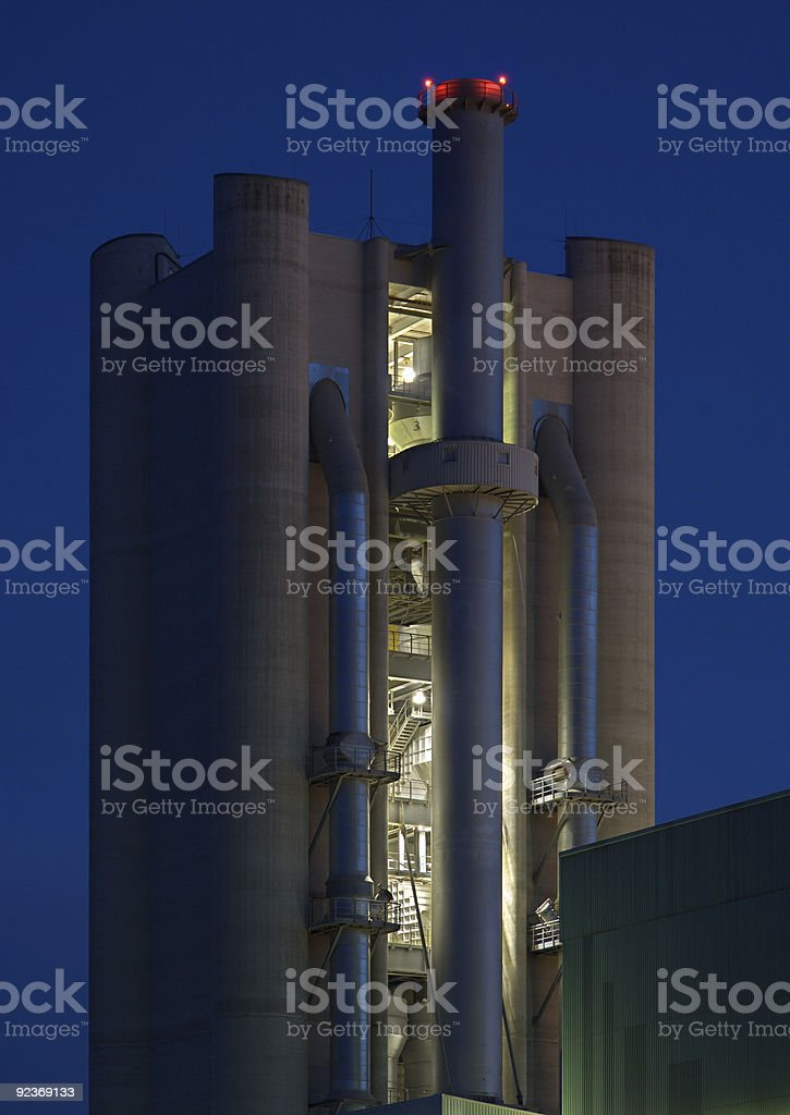 Cement Factoy Tower At Night royalty-free stock photo
