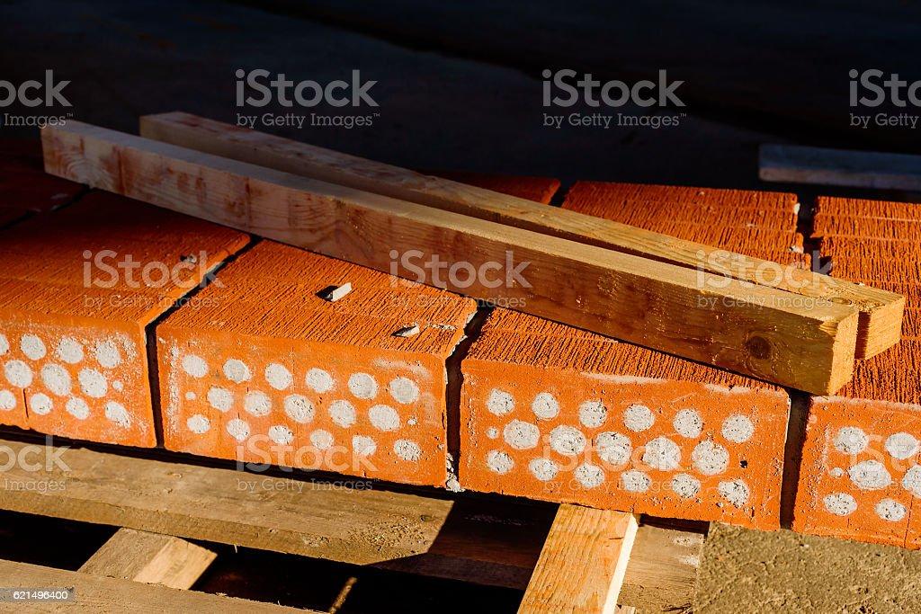 Cement filled red bricks Lizenzfreies stock-foto