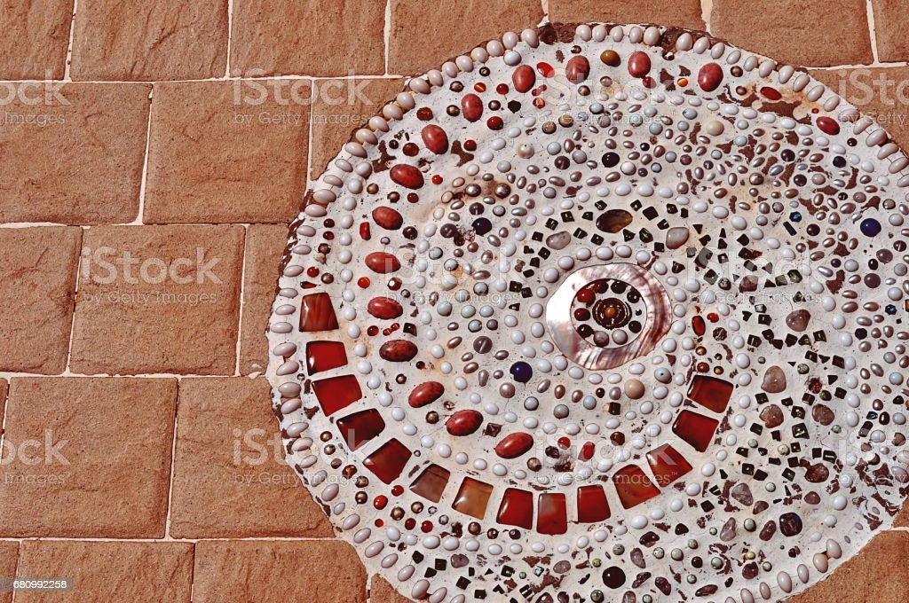 Cement floor decorated with tiles and beads for texture background royalty-free stock photo