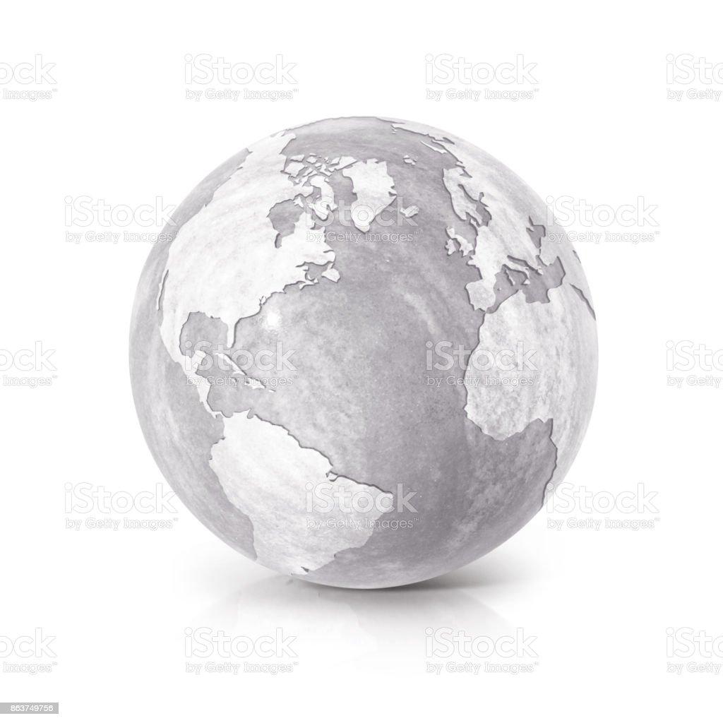 Globo de cemento del norte y América del sur mapa sobre fondo blanco - foto de stock
