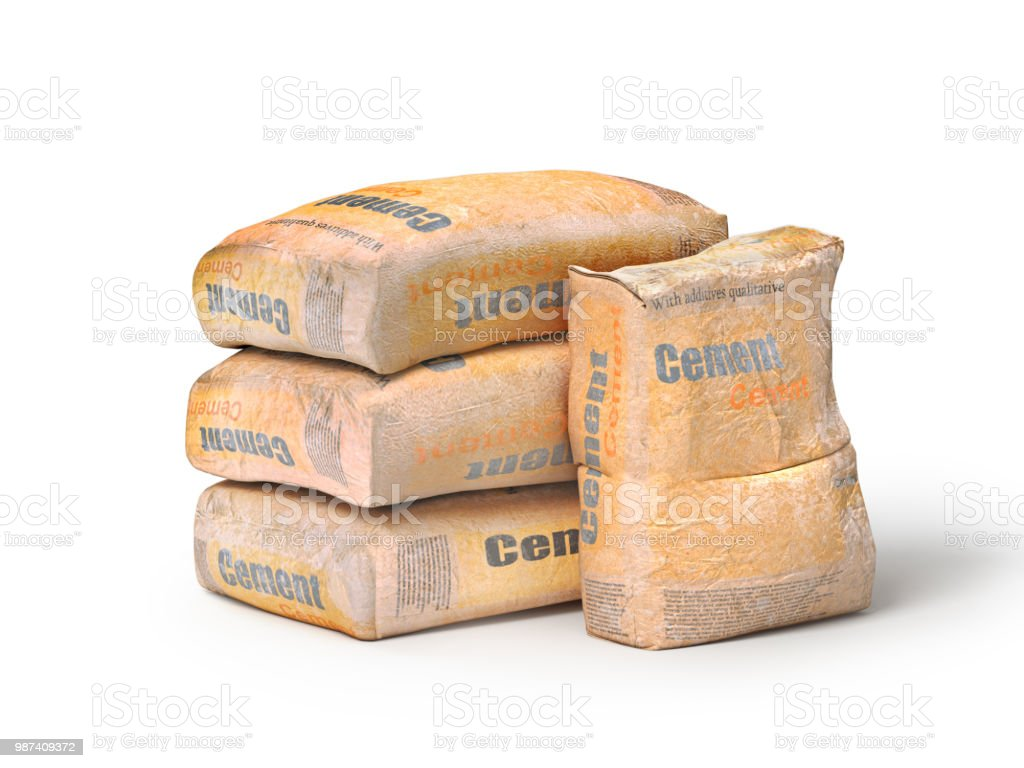 Cement in bags, 3D rendering, isolated on white background. stock photo