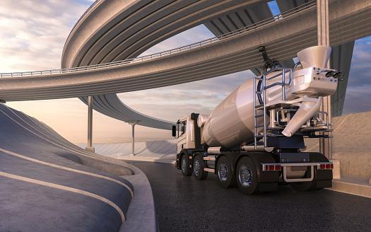 3D rendering of generic cement mixer transportation concept