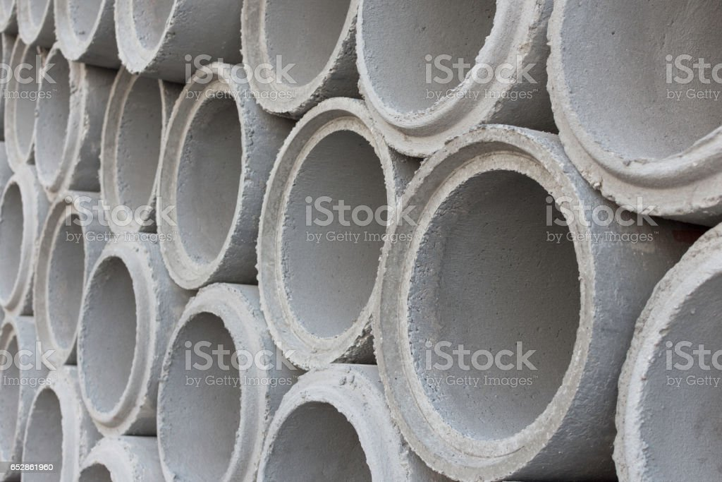 Cement pipes for construction water system. stock photo