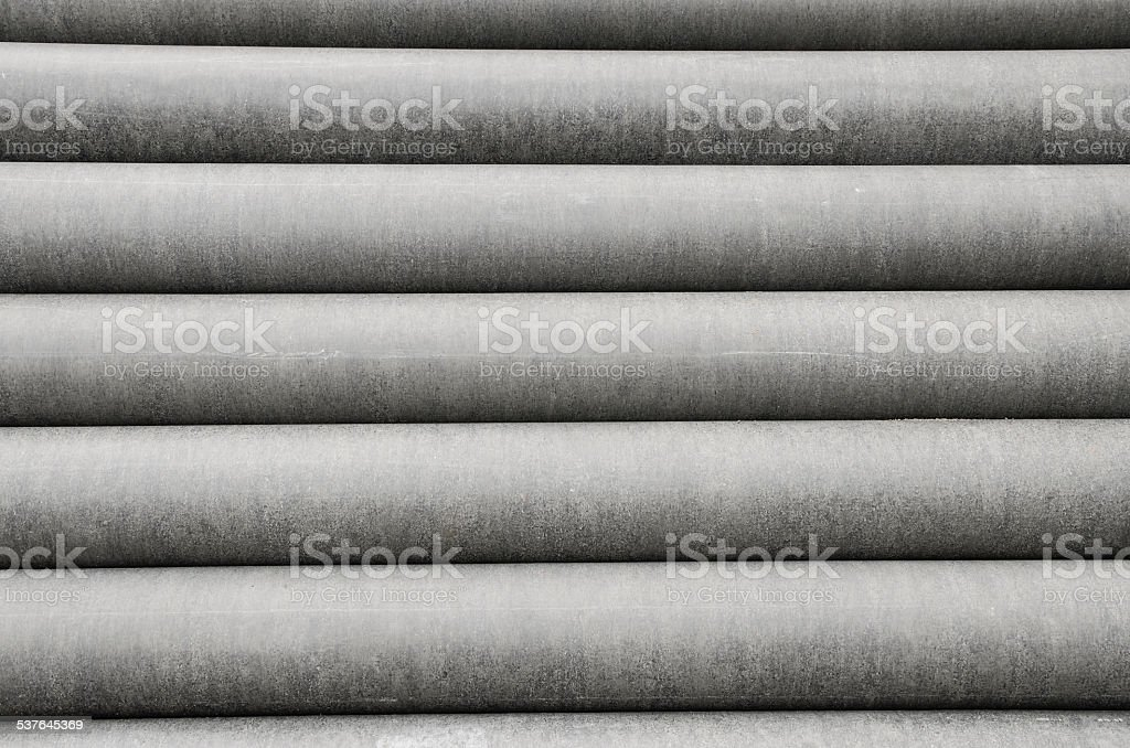 Cement pipes line stock photo