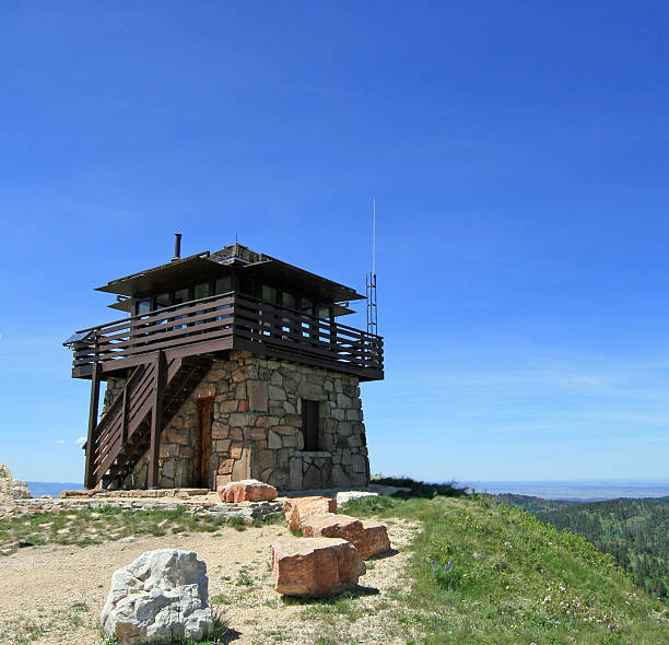 Cement Ridge Fire Lookout Tower in the Black Hills stock photo